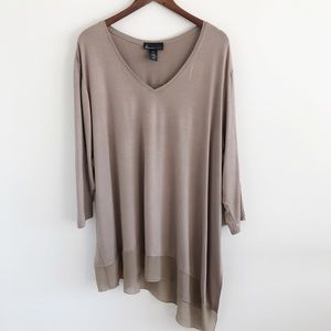 Lane Bryant Taupe V-Neck Asymmetric Top 26 / 28